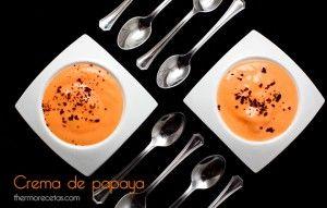 Crema fría de papaya con virutas de chocolate negro