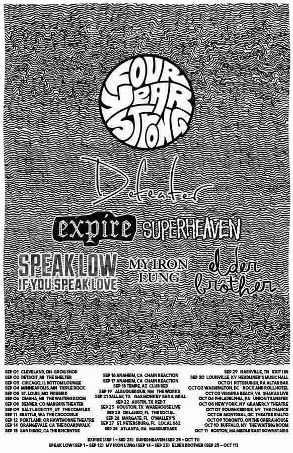 NEWS: The pop punk band, Four Year Strong, have announced a North American headlining tour, starting in September. The tour is in support of their newly released self-titled album. Defeater, Expire, Speak Low If You Speak Love, My Iron Lung, Superheaven and Elder Brother, will be supporting the tour, on select dates. You can check out the dates and details at http://digtb.us/1CHHRYO