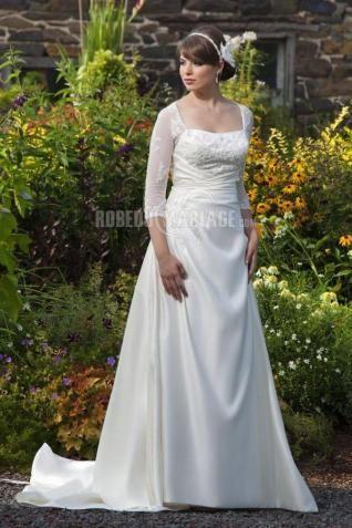 Col en u robe de mariée sur mesure dentelle satin manches mi-longue [#ROBE209092] - robedumariage.com