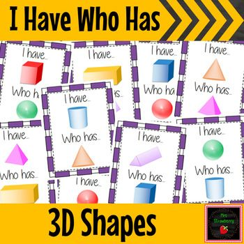 I Have Who Has - 3D Shapes - Practice naming 3D shapes with this fun and interactive I have Who Has game. Kids of all ages just love this game and it is perfect for reviewing and practicing 3D shape knowledge.Includes cube, sphere, cylinder, cone pyramid, rectangular prism, triangular prism and more! {Kindergarten, 1st, 2nd, 3rd and 4th grade}