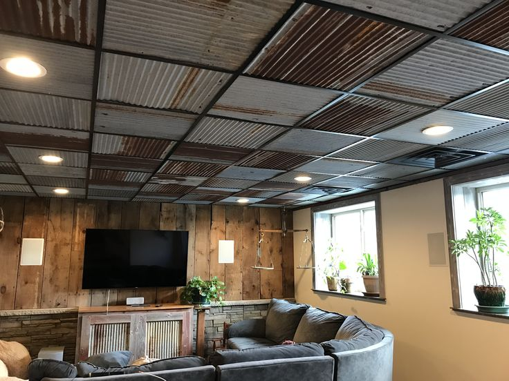 Basement Entertainment Room With Barn Tin Ceiling Tiles