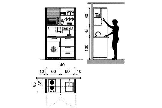 Plan cuisine gratuit 20 plans de cuisine de 1 m2 32 m2 - Hauteur plan de travail cuisine ikea ...