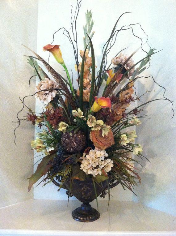 Elegant Elegant Tall Foyer Centerpiece   Large Silk Floral Arrangement By Greatwood  Floral Designs.