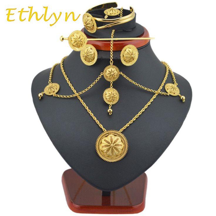 Ethlyn Iyi Nitelikleri Etiyopya takı setleri 22 k Altın kaplama saç takı 6 adet Etiyopya en Kadınlar için & Afrika takı setleri hediye