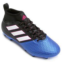 Chuteira Campo Adidas Ace 17.3 FG Masculina - Preto+Azul