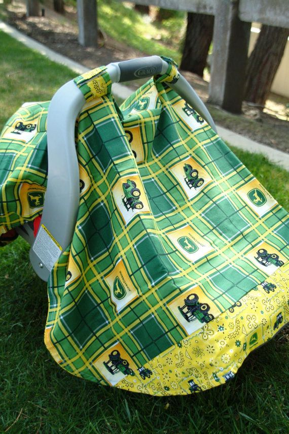 Yellow and Green John Deere Baby Car Seat Cover by thelilredwagon