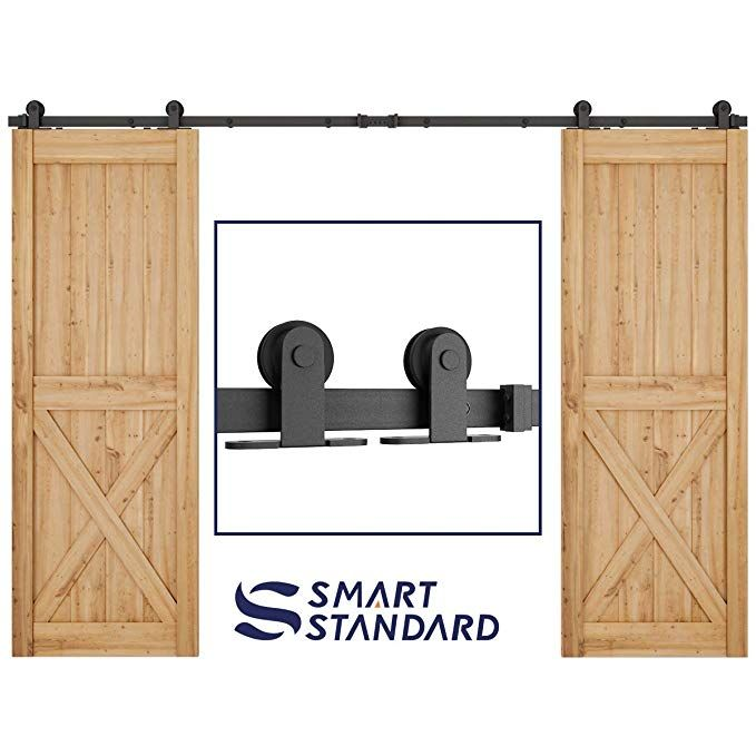 Amazon Com 10ft Heavy Duty Sturdy Double Door Sliding Barn Door Hardware Kit Super Exterior Barn Door Hardware Double Sliding Barn Doors Barn Door Hardware