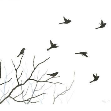 Original Watercolor Bird Painting, Flying Birds And Tree Branch Silhouette,  Nature Home Decor,