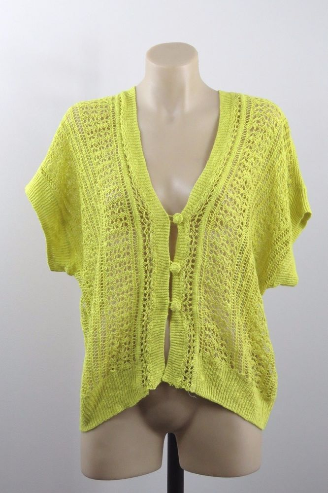 Size M 12 SUSSAN Ladies Summer Knit Top Cardigan Crochet Layer Boho Indie Design #Sussan #KnitTop #Casual