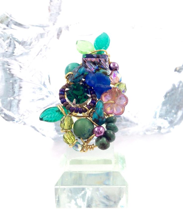 Luxuriant Floral Turquoise, Abalone and Emerald Rhinestone ring by TrinesTreasures on Etsy
