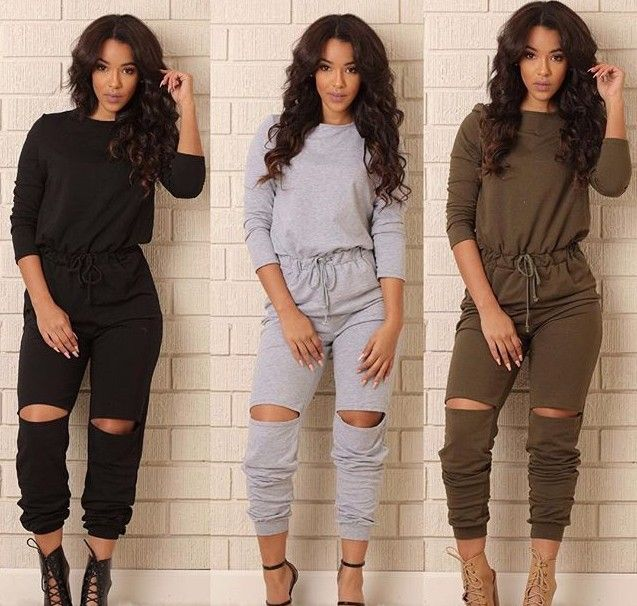 Hot Sale GOOD Fabric New Vestidos Fashion Hot Sale Long Jumpsuits Sexy Women Casual Rompers Catsuits Playsuits Ripped Pants