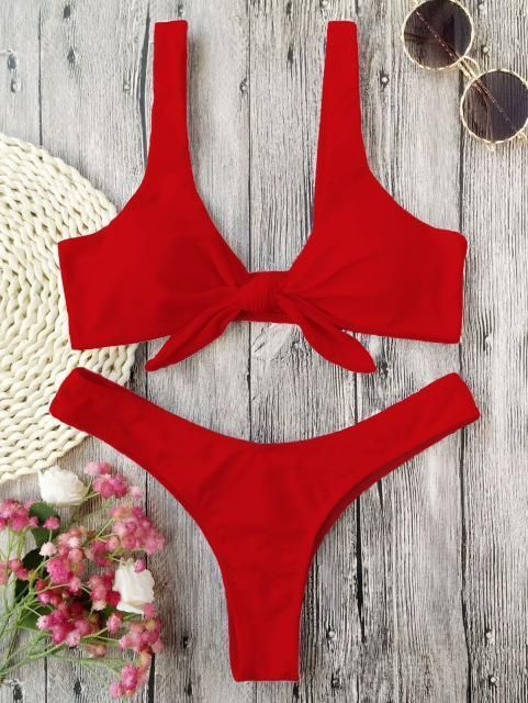 Tiny Knotted Two-Piece Thong Swimsuit