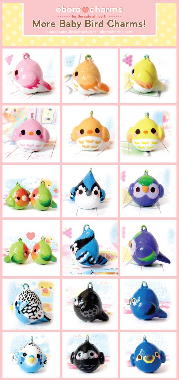 I love these polymer clay baby bird charms, the paint jobs on them are adorable.    (by Oboro charms)