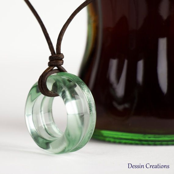 COLA Bottle Necklace Recycled Glass Pendant by DessinCreations