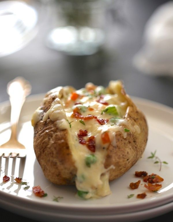 Twice-Baked Chicken Pot Pie Potatoes with Crispy Bacon