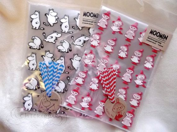 Moomin Food Safe Clear Plastic Bags  Set of 10  by chickippie, ¥550