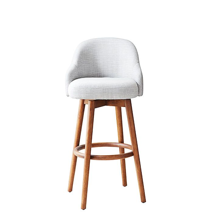Saddle bar and counter stool by West Elm, from $369 Upholstered chairs offer more cush for your tush but takeup more room. It's 20 inches wide, so you won't be ableto squeeze in as many stools, but those who manage to snag a seat will be rewarded with a plush perch. The back rises 11 inches from the seat (set on a swivel) and offers contoured arm rests. westelm.com