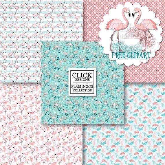 Flamenco Digital papel: Aves de Flamencos en rosa por ClickDesigns