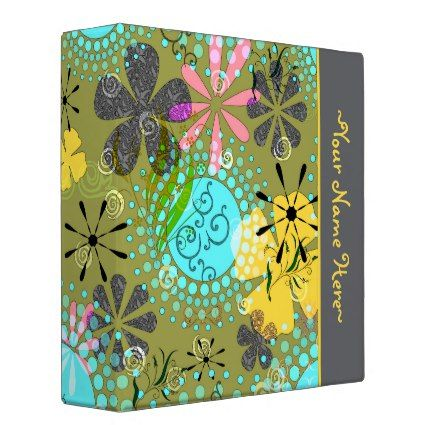 Retro Floral Personalized Avery Binder~ 2 inch Binders are very cool for school.