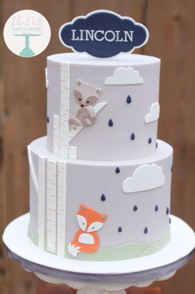 Fox themed baby shower cake. Birch tree, fondant, woodland themed, raindrops, outdoor, woodland characters
