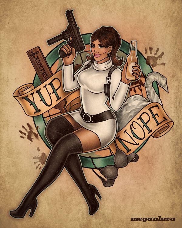 Archer Cartoon Lesbian - Spray and Pray Lana - Archer pin up - Megan Lara: Fine Art & Illustration