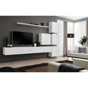 ASM Obývací stěna SWITCH IX, bílá matná/bílý lesk