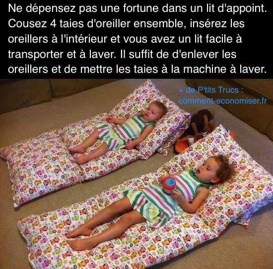 Vous cherchez un lit d'appoint facile à transporter pour vos enfants ? En voici un pas cher et fait maison que vos enfant vont adorer.