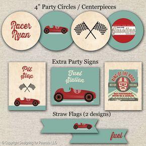 Carrera coche cumpleaños Party Pack por designingforpeanuts