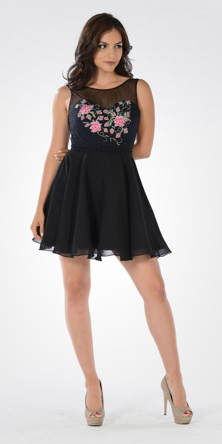 Ivory Illusion Pink Embroidered Bodice A-line Homecoming Dress Short 1