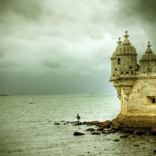 Fishing near Torre de Belem. Lisbon