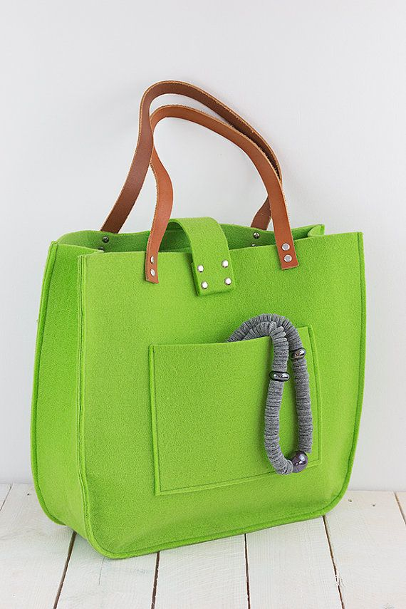 Green felt tote bag, Felt tote, Tote, big size, for shopping, spring bag…