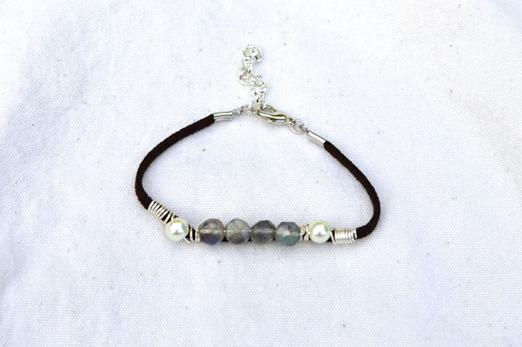 Soft+Suede+Bracelet+Made+With+Pearl+and+Semi+by+KEYZandMore,+$15.00