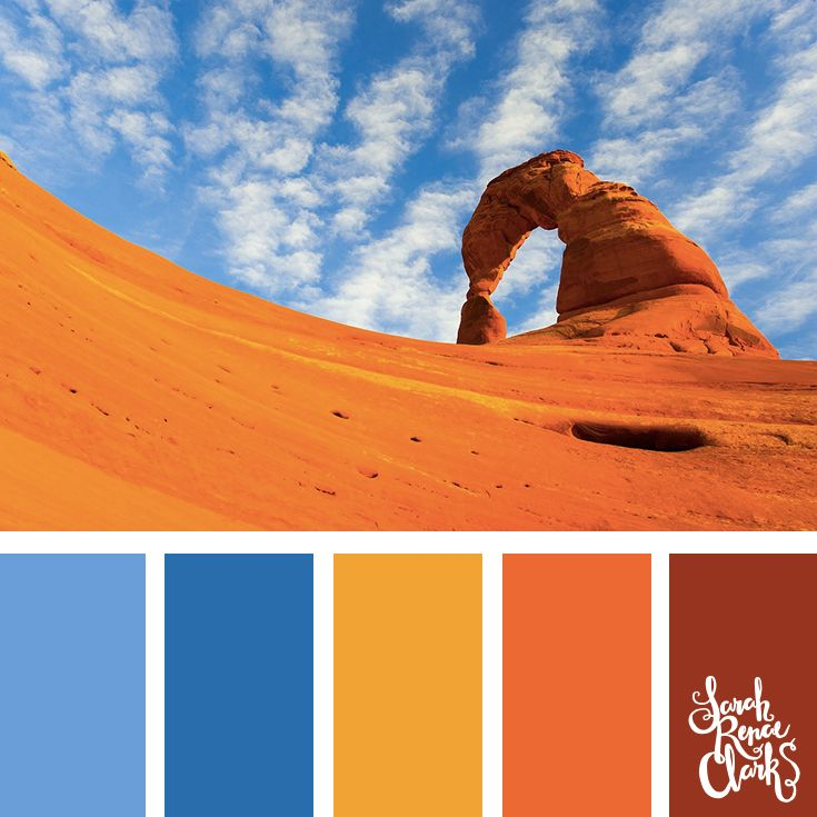 Vibrant desert color palette - The sand is so bright! Blue, yellow, orange and red color scheme.   Click for more color combinations inspired by beautiful landscapes and other coloring inspiration at http://sarahrenaeclark.com   Colour palettes, colour schemes, color therapy, mood board, color hue