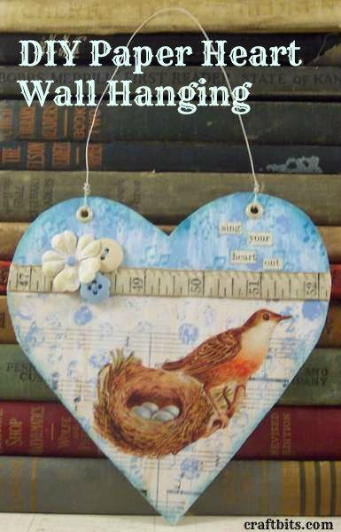 Shabby Chic Paper Heart Wall Hanging
