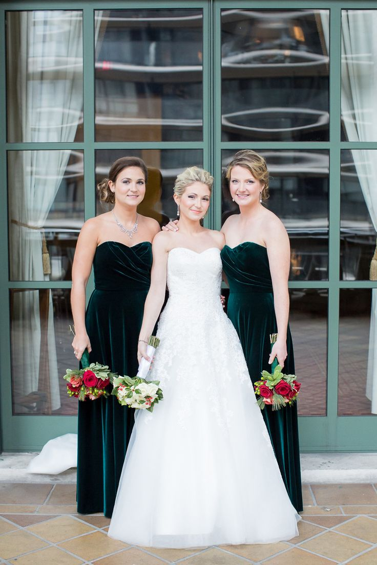 Velvety bridesmaids' dresses: http://www.stylemepretty.com/little-black-book-blog/2015/03/16/classic-elegant-new-york-city-winter-wedding/ | Photography: Kelsey Combe - http://kelseycombe.com/