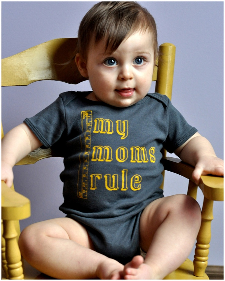 """Items similar to Cute """"My Moms Rule"""" One-Piece for Kids with Lesbian Moms on Etsy"""