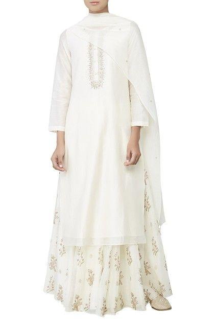White dori embroidered kurta