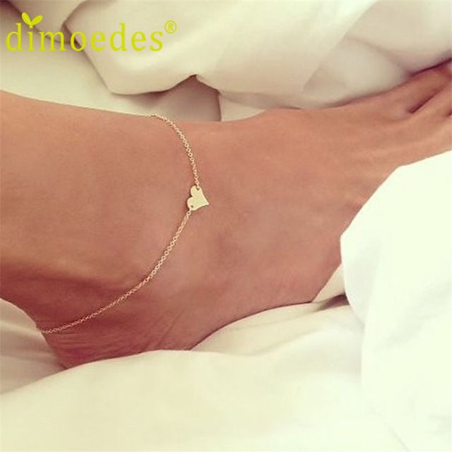 Meilleure Affaire Diomède Doux Simple Coeur Forme Cheville Bracelet Chaîne Ankel Plage Pied Sandale Diomède pour Femmes Lady Cadeau 1 PC