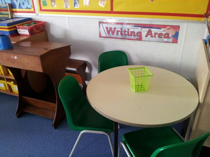 Writing area - complete with old fashioned children's desk