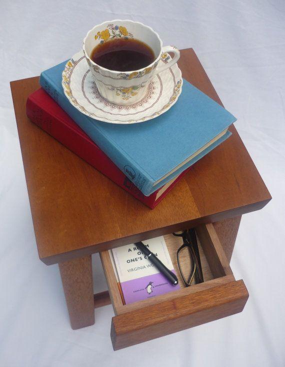 Hardwood stool or table with secret draw via Etsy