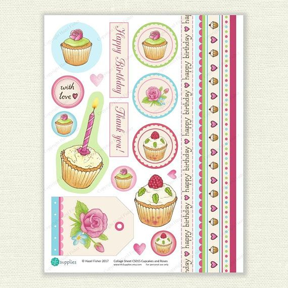 Cupcakes and Roses Printable Collage Sheet for  card making, scrapbooking, collage, craft projects. Digital Instant Download.  Available from hfcSupplies Etsy.  Design by Hazel Fisher Creations.