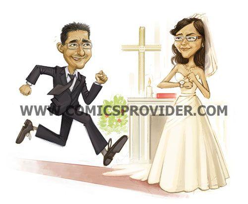 Simpatica caricatura che sfata il mito della sposa ritardataria!