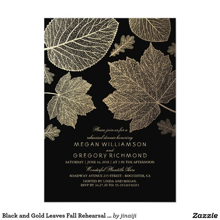 Black and Gold Leaves Fall Rehearsal Dinner
