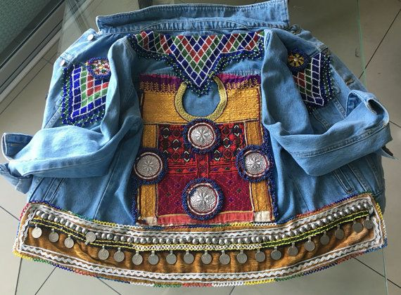 Handcrafted Embellished Denim Jacket is decorated by CreativeEast