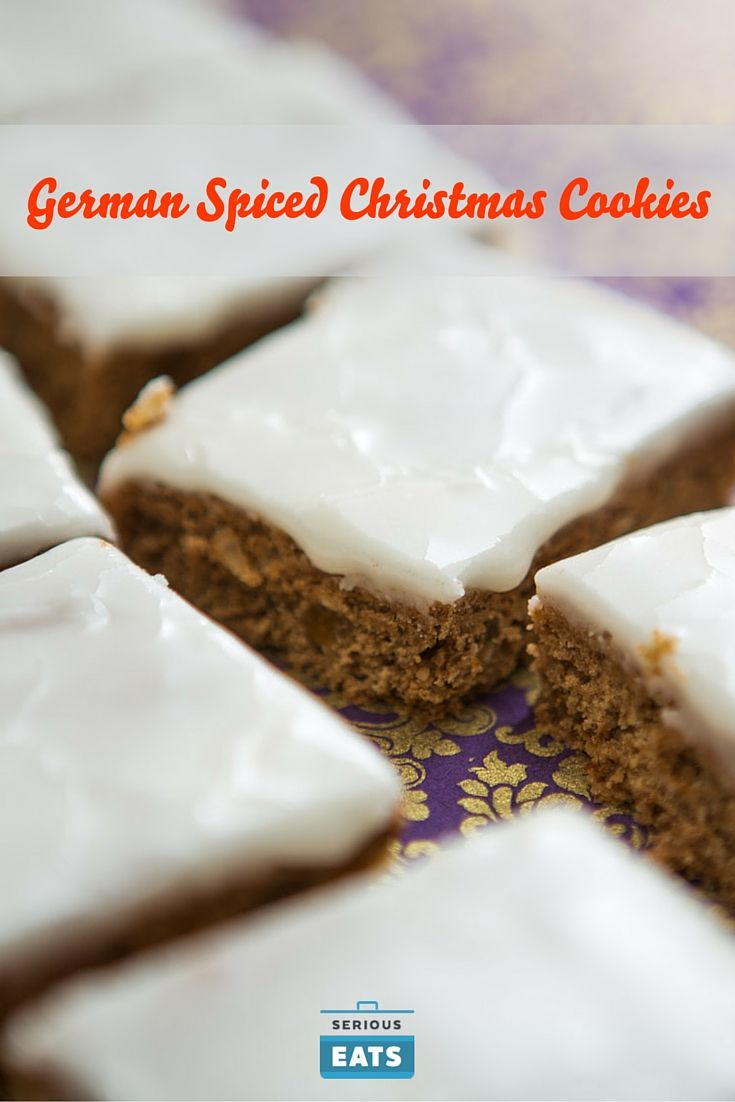 These classic German Christmas cookies are rich with warm spices, toasted nuts, and candied fruit, with a cakey, chewy texture and a sweet, crackly glaze. They can be made as either bars or individual cookies, and get even better as they age in the days following baking.