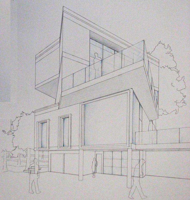 Prospettiva accidentale 3d hand drawn architectural for Disegni di case in prospettiva
