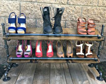Shoe Rack, Store Decor, Boutique Decor, Closet Organizer, Steampunk Decor, Industrial Decor, Home Decor, Closet Organizing, Pipe Shelf