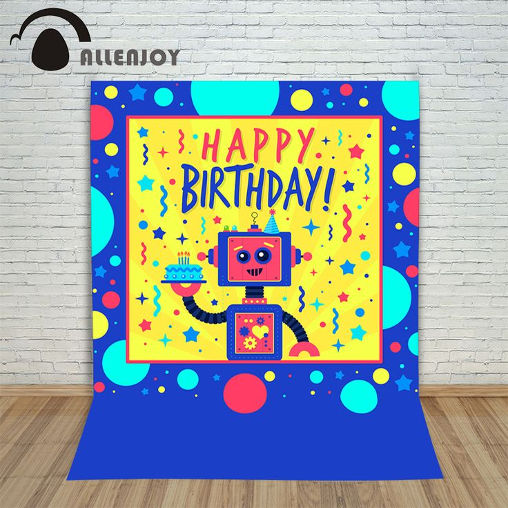 Photo background vinyl birthday photo robot circles cake anniversary  photocall Happy profession Photography studio prop