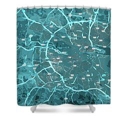 Dublin, Ireland, Blue Old Traffic Abstract Map Shower Curtain by Pablo Franchi