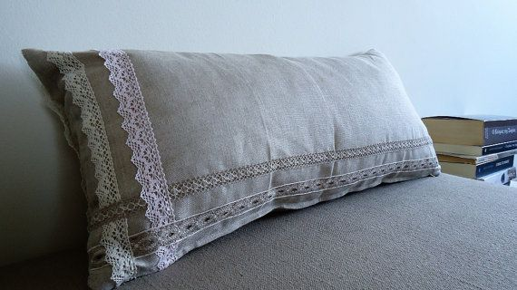 Linen Pillow Linen Cushion Cotton Lace Pillow by YellowByZoe